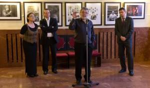Ráckevei Anna, Gemza Péter, Máthé András és Komolay Szabolcs az Álomkergetők kiállításának a megnyitóján