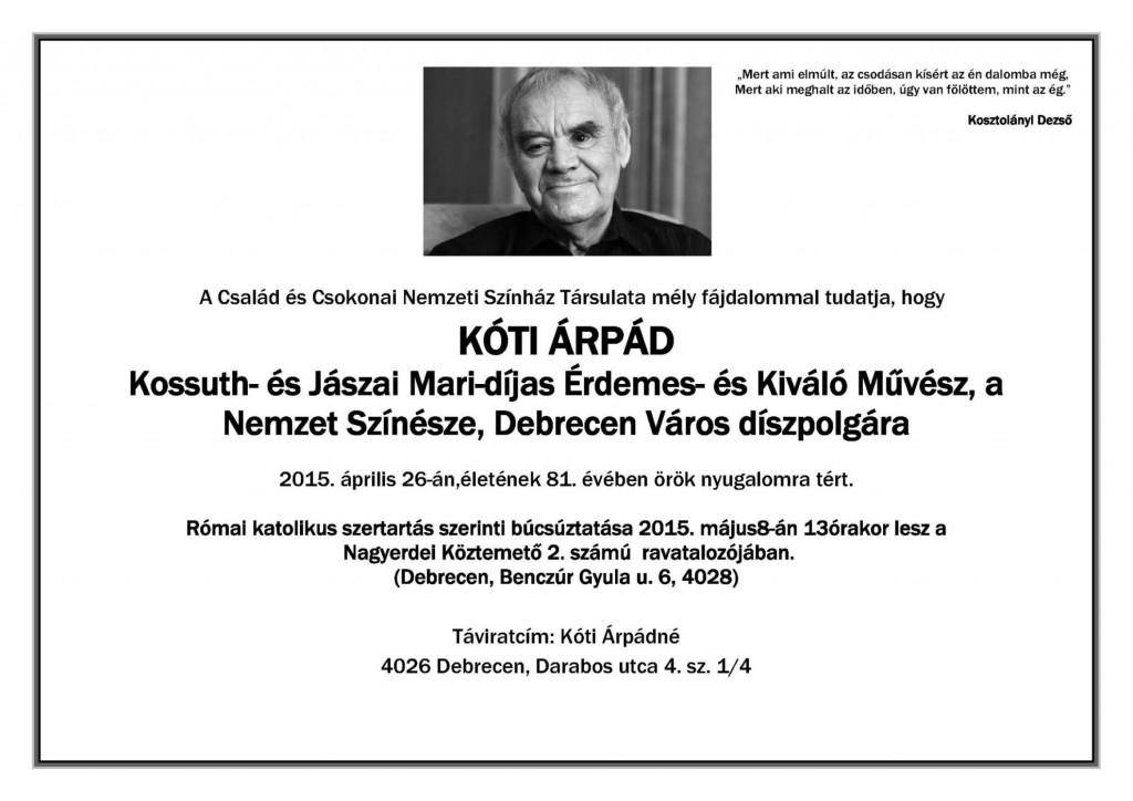 Kóti Árpád partecedula