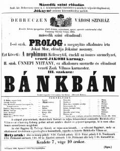 1865 - a nyitóelőadás plakátja